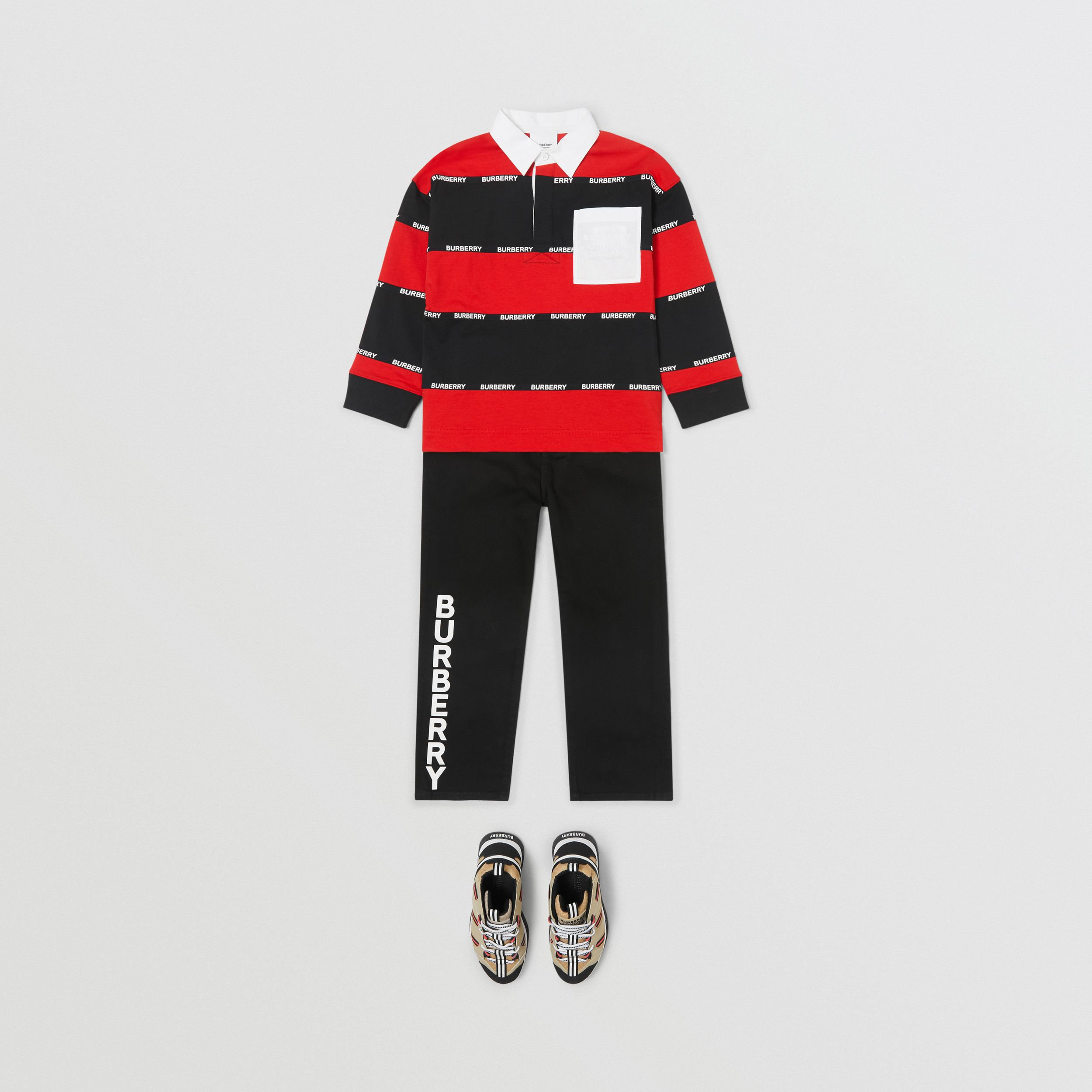 Long-sleeve Logo Tape Striped Cotton Polo Shirt in Bright Red | Burberry - 3