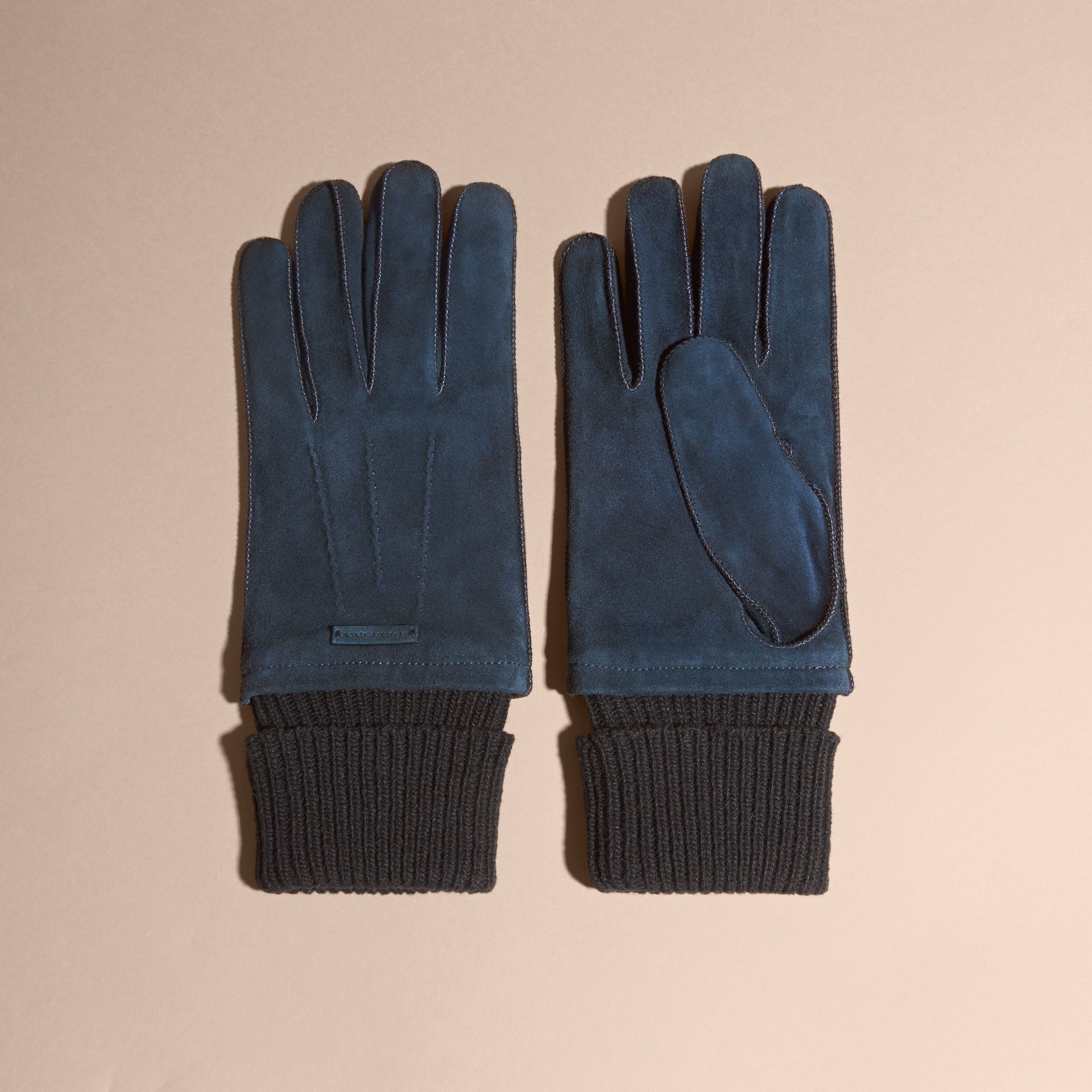 Wool Cashmere Ribbed Trim Suede Gloves in Ink - gallery image 3