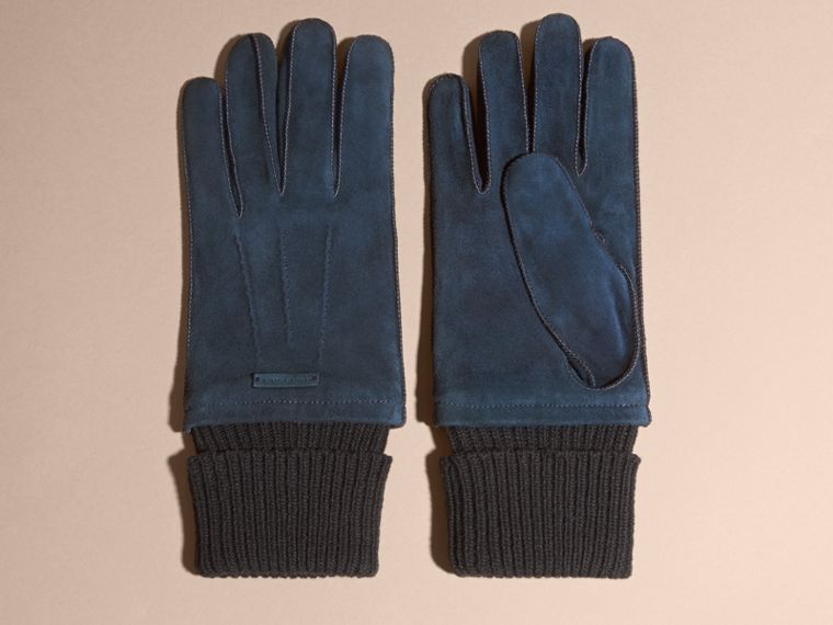 Wool Cashmere Ribbed Trim Suede Gloves in Ink - cell image 2