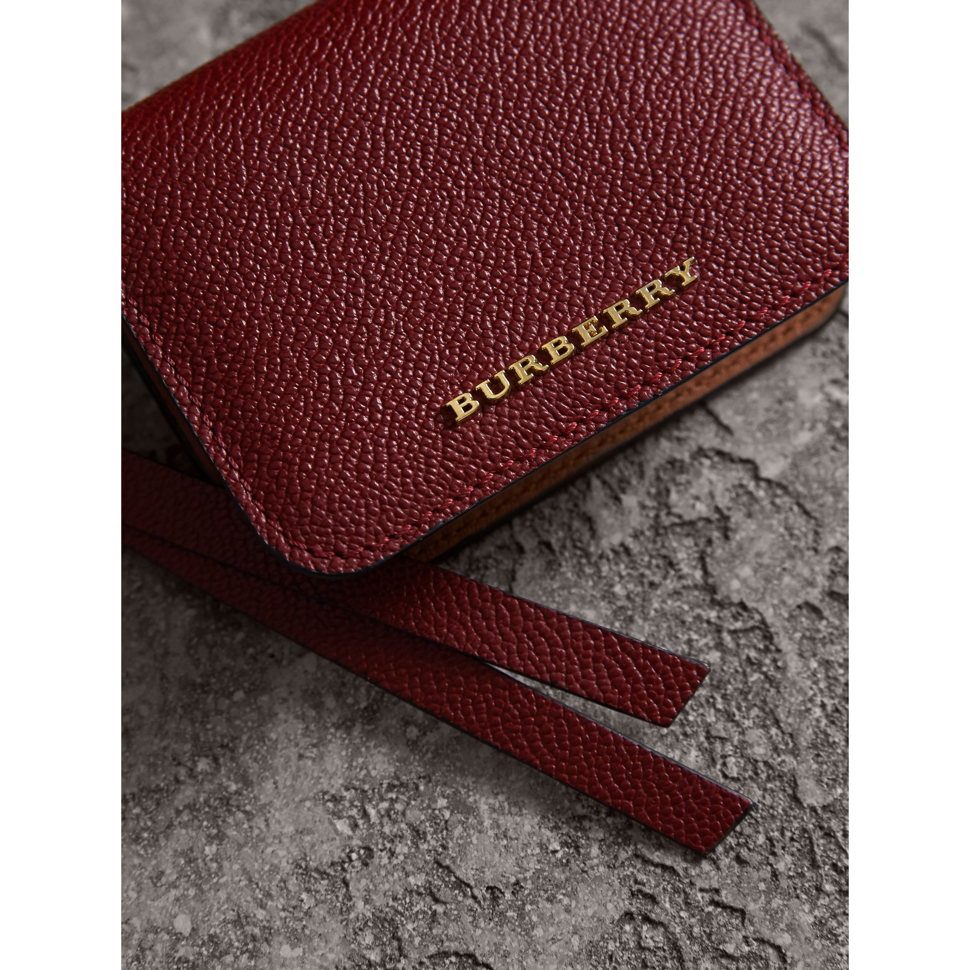 Leather and Haymarket Check ID Card Case Charm in Burgundy/multicolour - Women | Burberry - gallery image 5