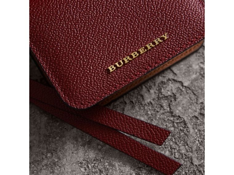 Leather and Haymarket Check ID Card Case Charm in Burgundy/multicolour - Women | Burberry - cell image 4