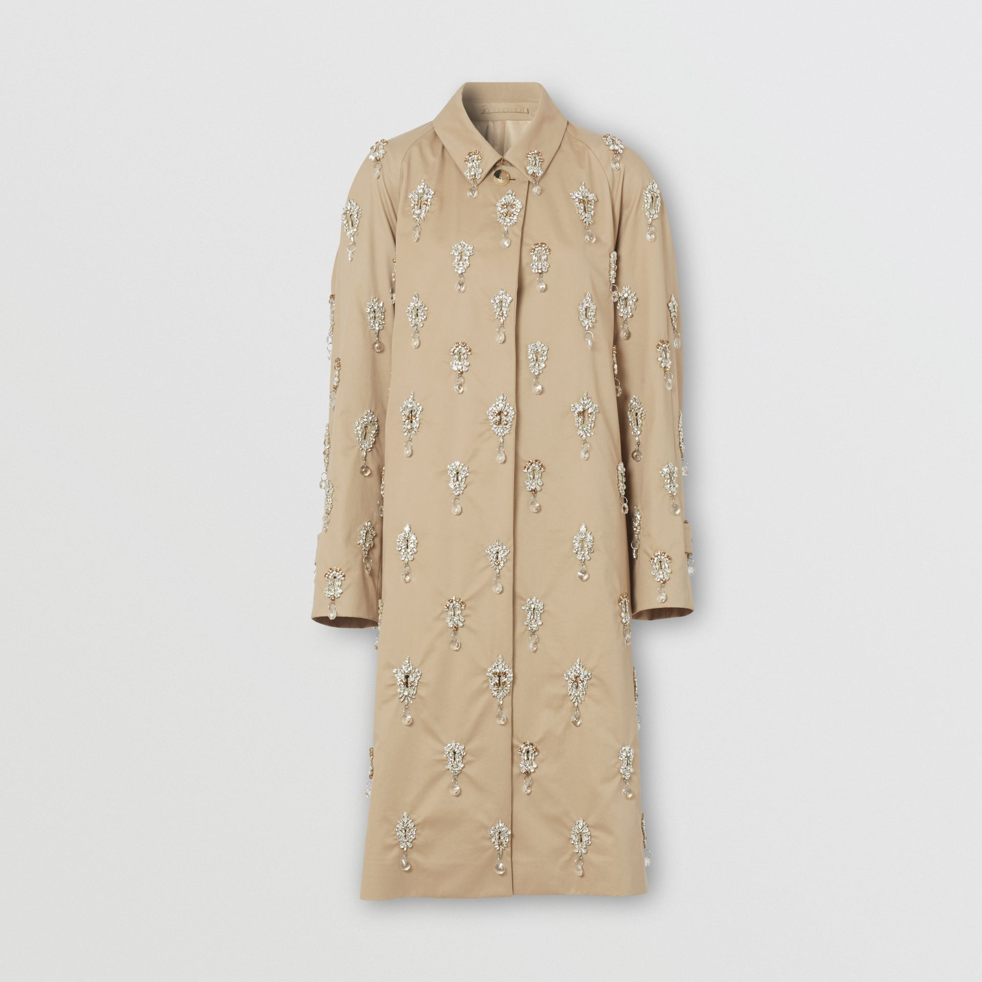 Embellished Cotton Twill Car Coat in Soft Fawn - Women | Burberry - gallery image 3