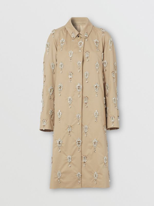 Embellished Cotton Twill Car Coat in Soft Fawn - Women | Burberry - cell image 3
