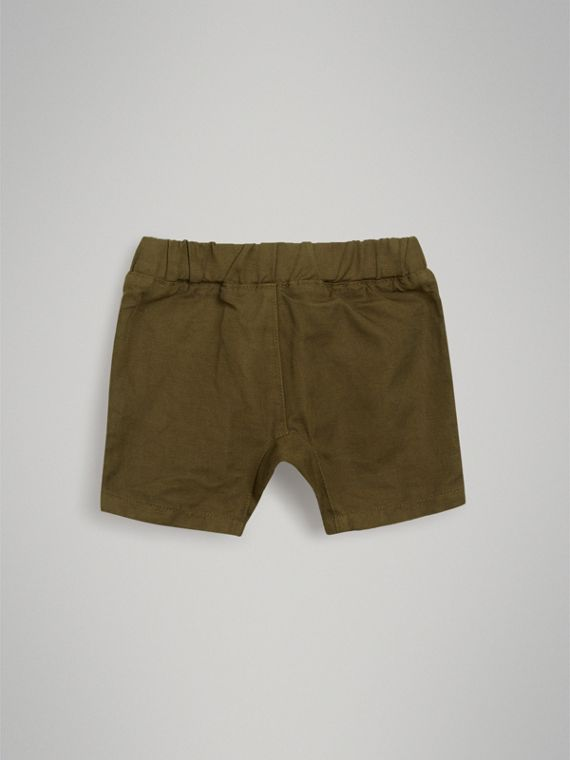 Drawcord Cotton Linen Twill Shorts in Olive | Burberry - cell image 3