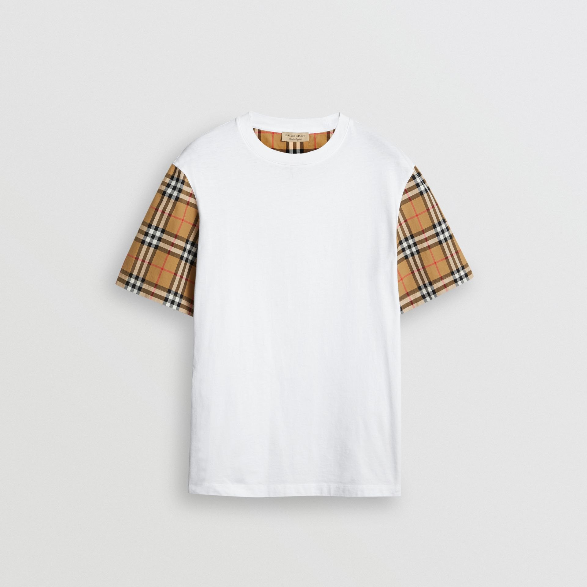 Vintage Check Sleeve Cotton T-shirt in White - Women | Burberry - gallery image 3