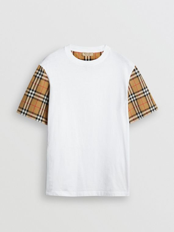 Vintage Check Sleeve Cotton T-shirt in White