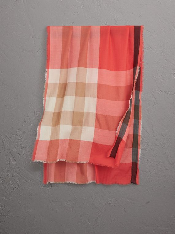 The Lightweight Check Cashmere Scarf in Bright Coral