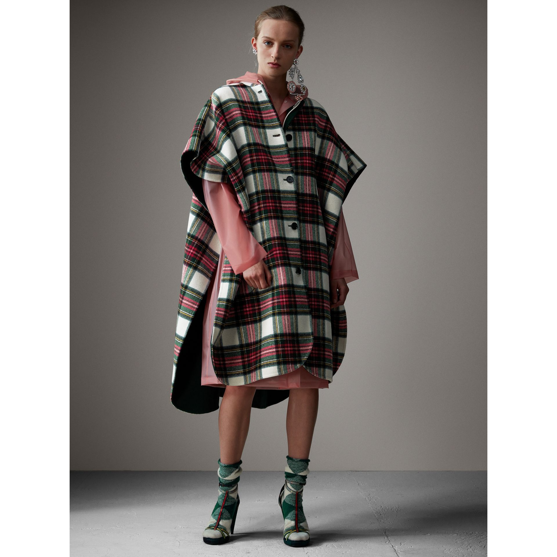 Reversible Tartan Oversized Poncho in Natural White/bottle Green - Women | Burberry - gallery image 8