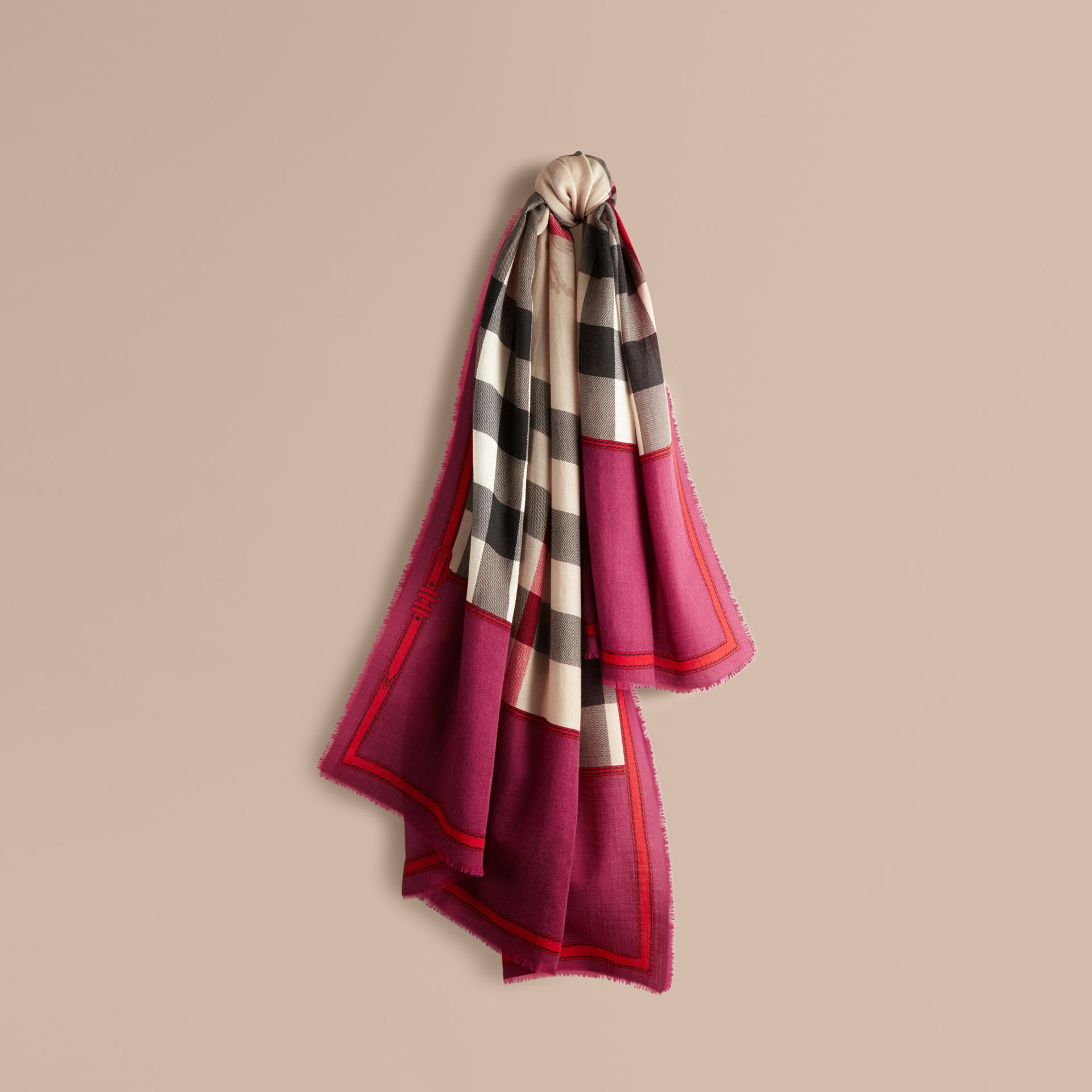 Magenta pink Contrast Border Horseferry Check Cashmere Scarf Magenta Pink - gallery image 1