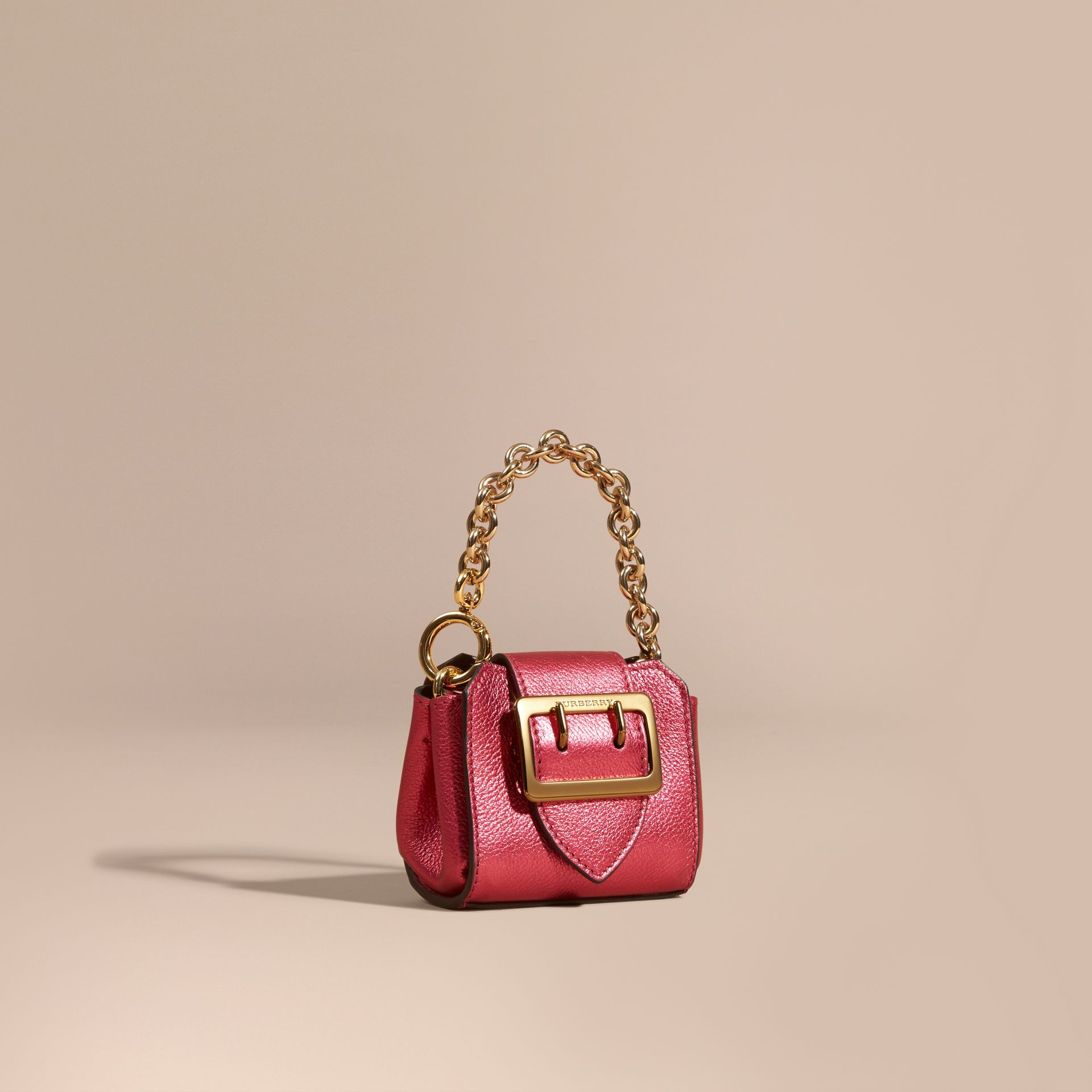 Bright pink The Mini Buckle Tote Charm in Metallic Leather Bright Pink - gallery image 1