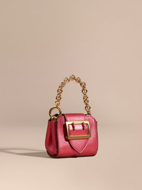 The Mini Buckle Tote Charm in Metallic Leather Bright Pink