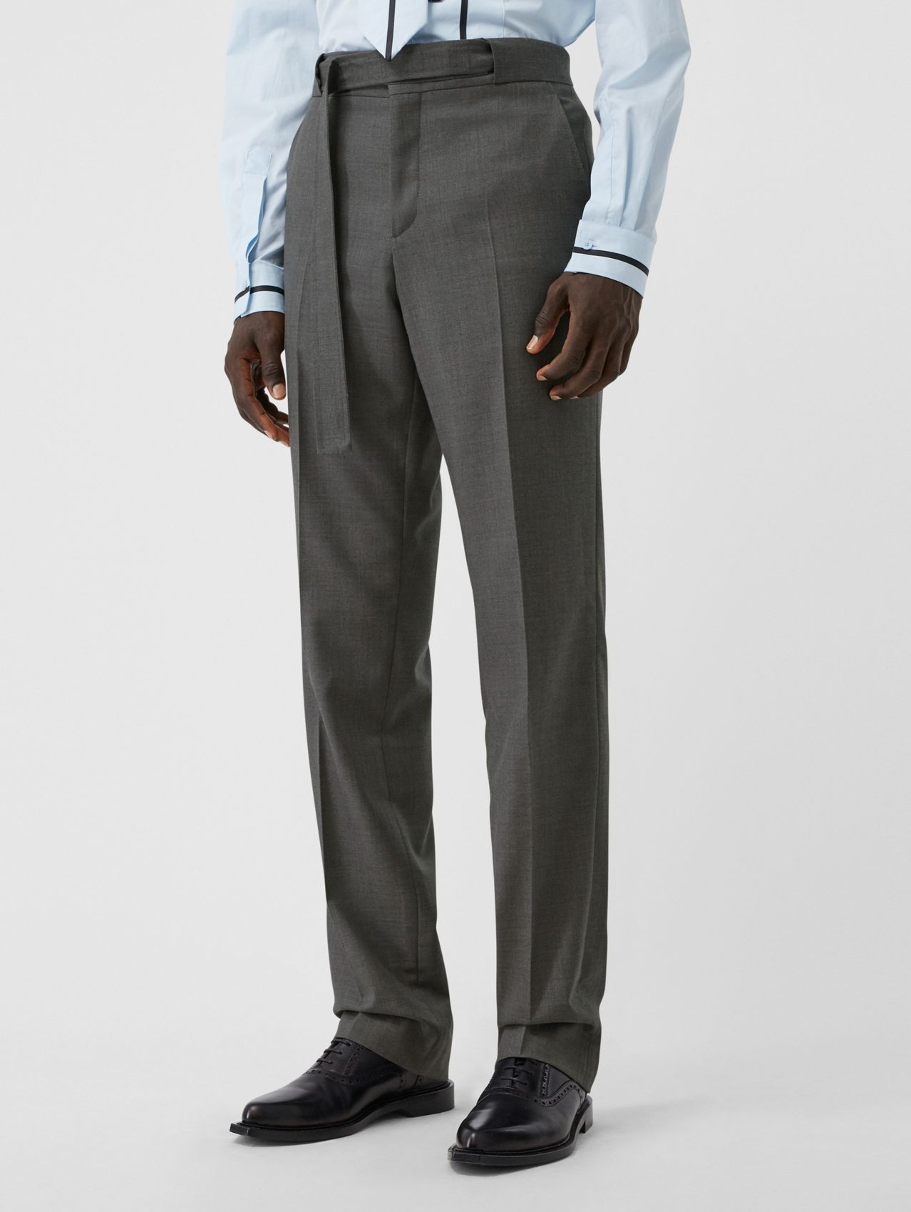 English Fit Belt Detail Wool Tailored Trousers in Charcoal Grey