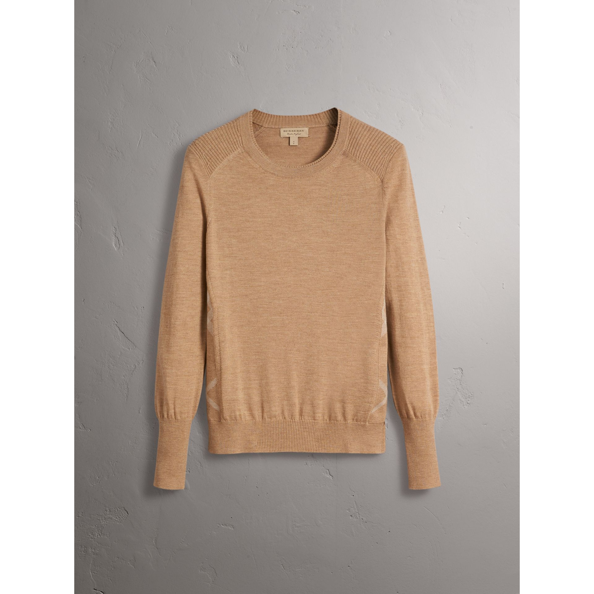 Check Detail Merino Wool Sweater in Camel - Women | Burberry United Kingdom - gallery image 3