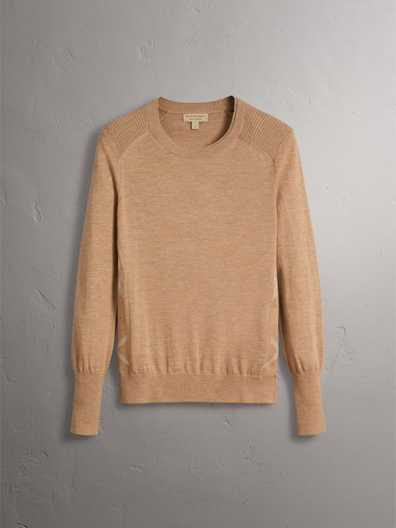 Check Detail Merino Wool Sweater in Camel - Women | Burberry United Kingdom - cell image 3