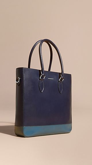 Panelled London Leather Tote Bag