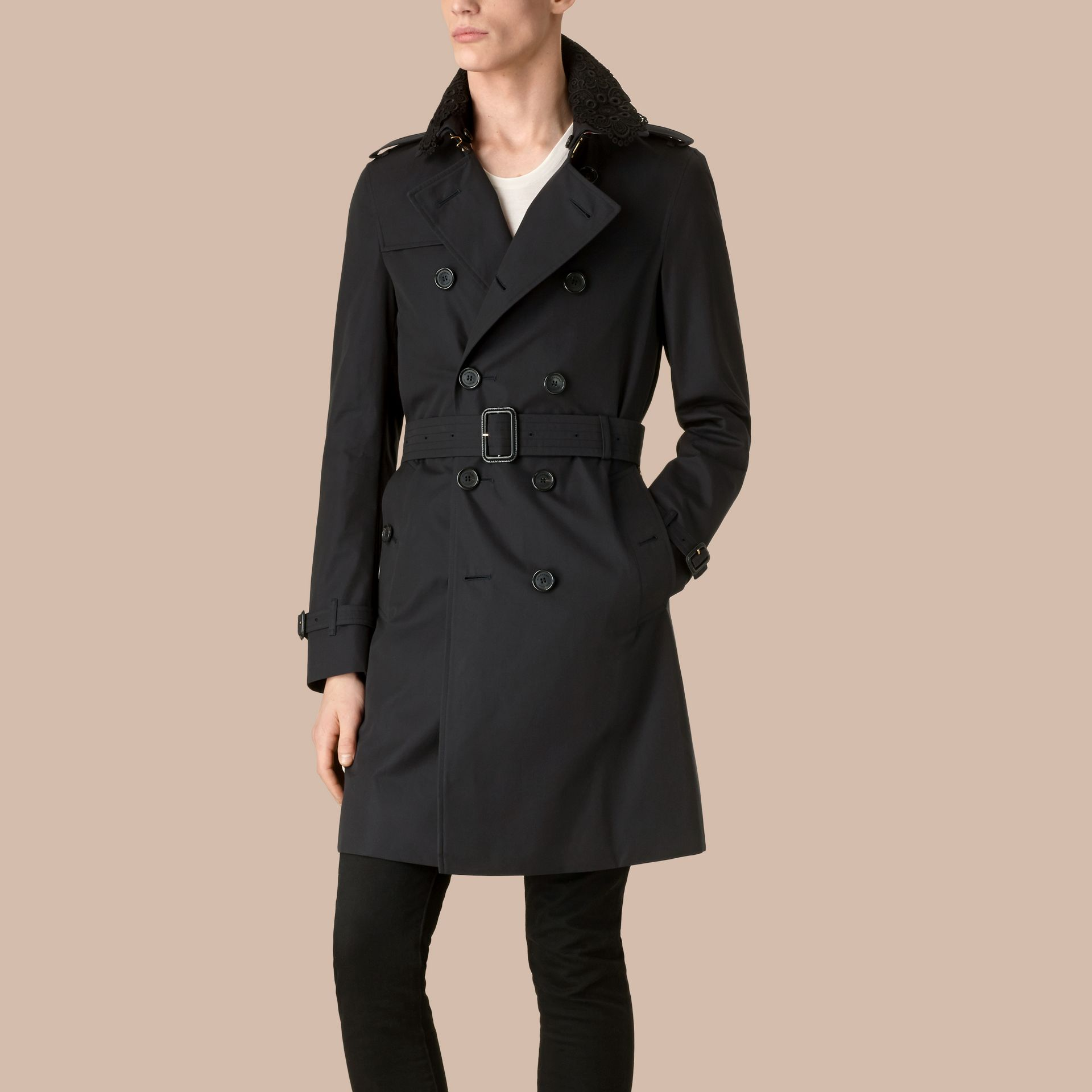 Navy The Chelsea – Gabardine Trench Coat with Lace Collar Navy - gallery image 1