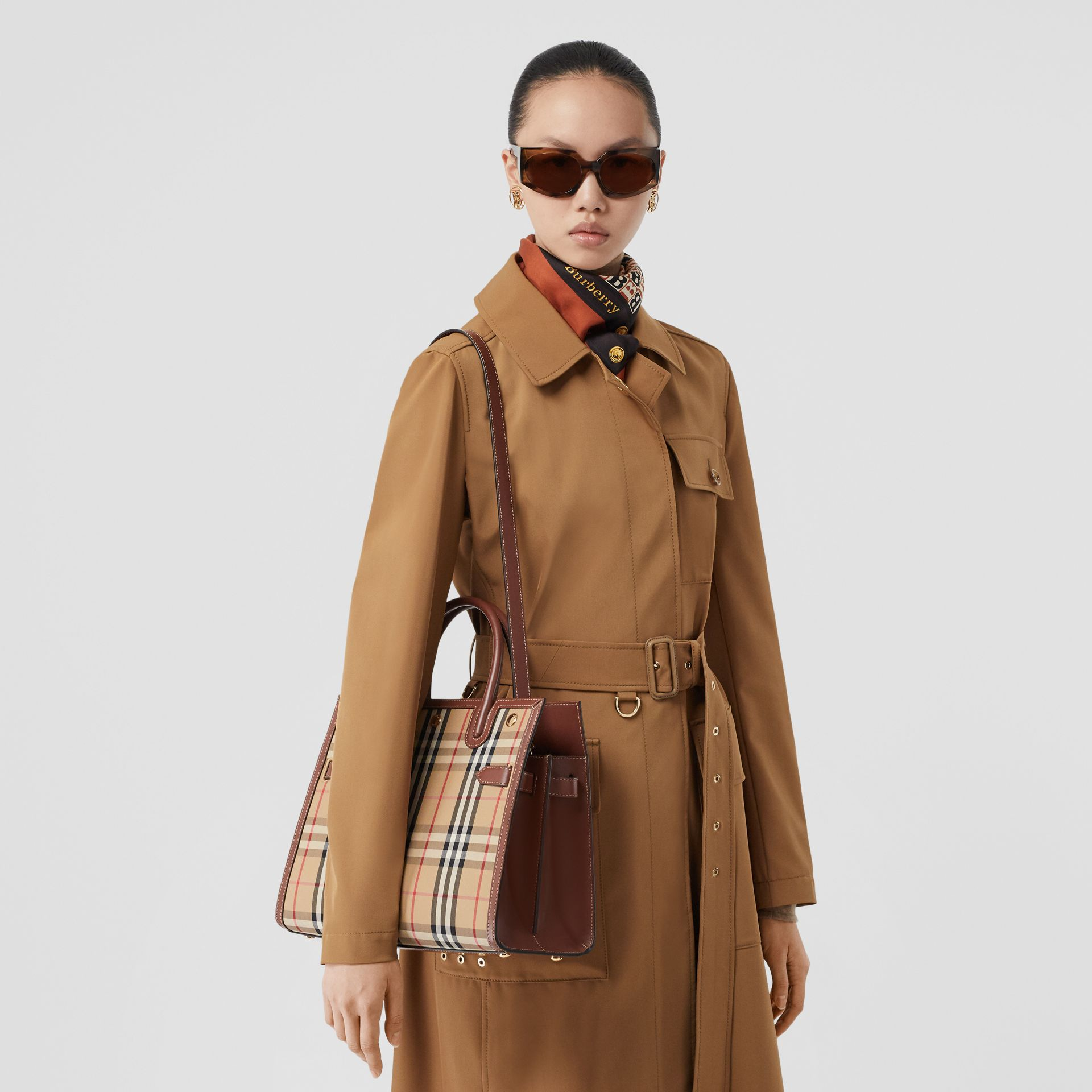 Small Vintage Check Two-handle Title Bag in Archive Beige - Women | Burberry - gallery image 2