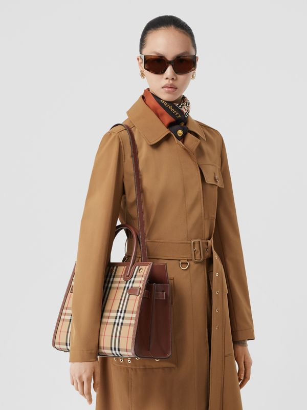 Small Vintage Check Two-handle Title Bag in Archive Beige - Women | Burberry - cell image 2