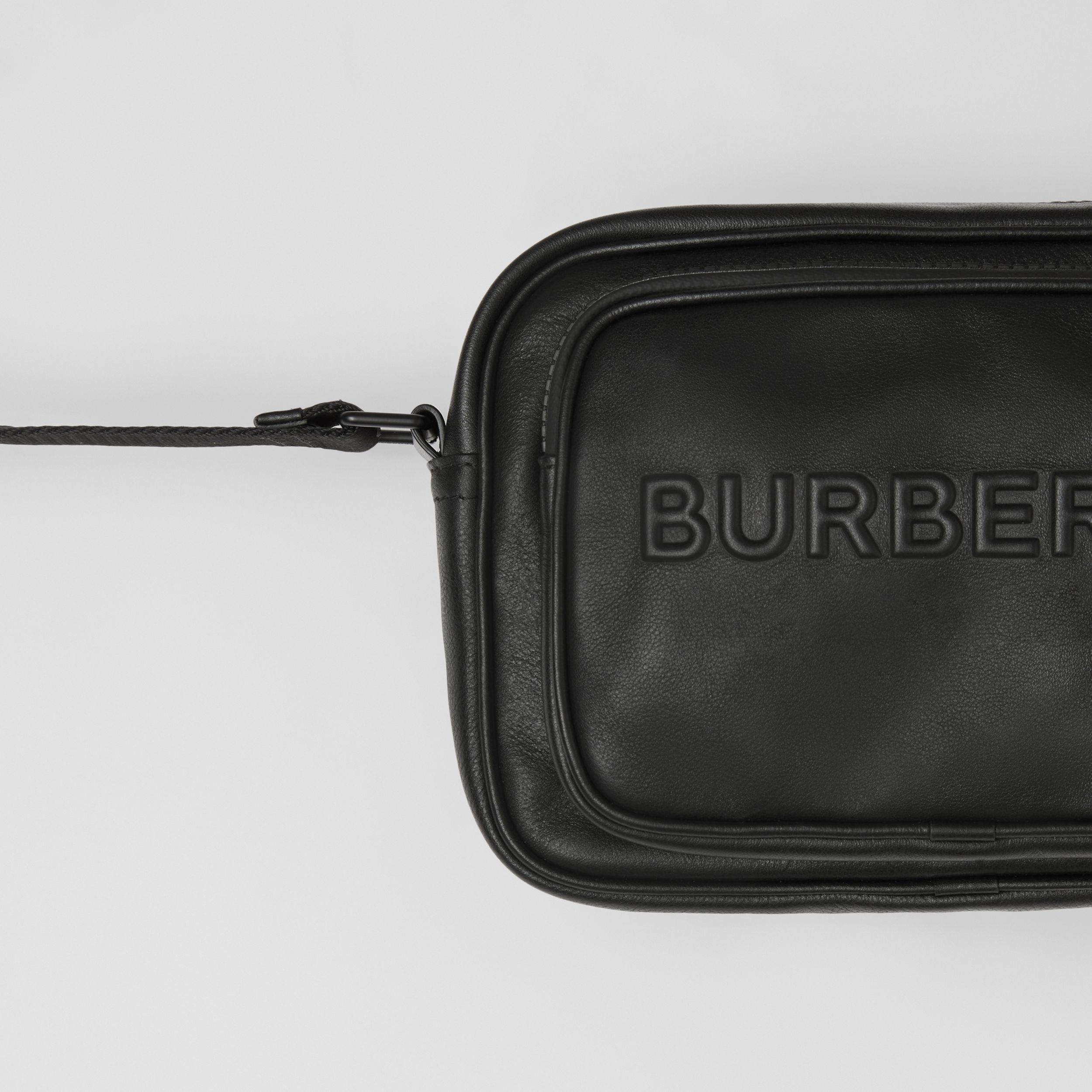 Debossed Logo Leather Crossbody Bag in Black - Men | Burberry - 2