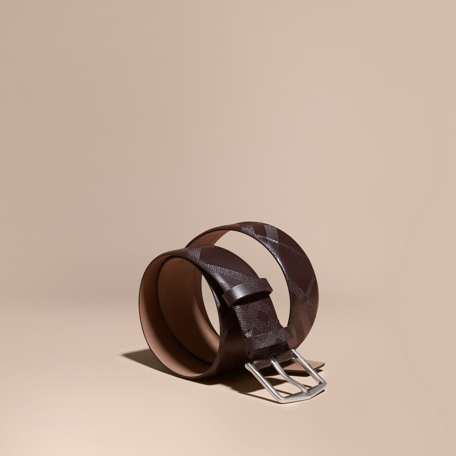 Leather Trim London Check Belt in Bitter Chocolate - Men | Burberry - gallery image 1