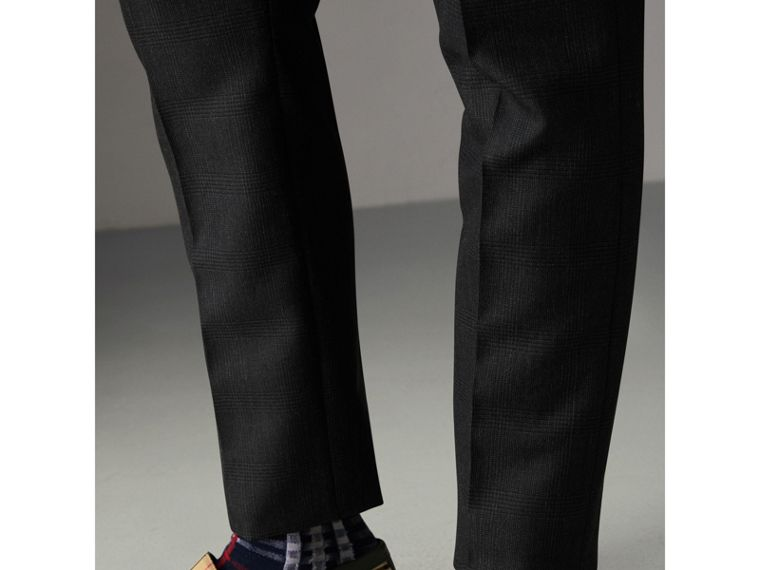 Wool Mohair Cropped Tailored Trousers in Charcoal | Burberry - cell image 1