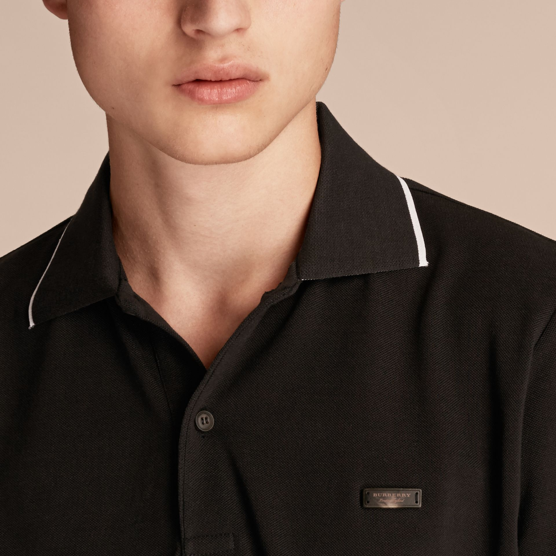 Tipped Collar Cotton Piqué Polo Shirt in Black - Men | Burberry - gallery image 5