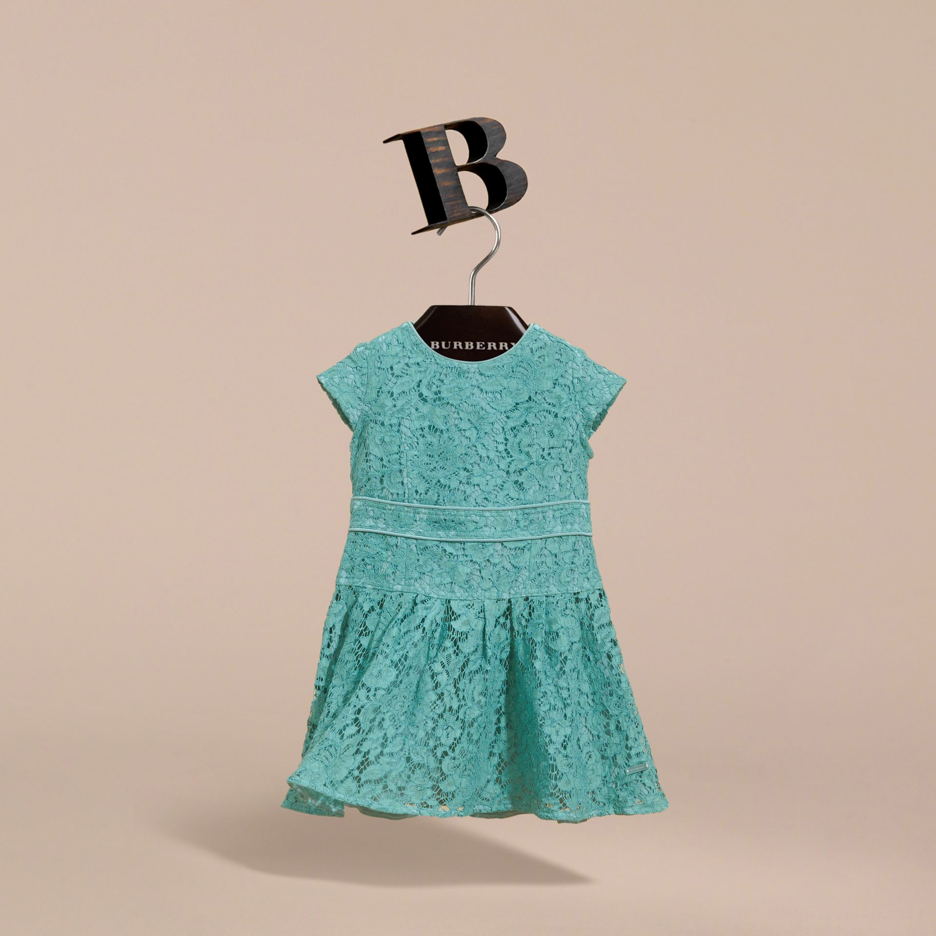 Cap Sleeve Macramé Lace Dress in Pale Turquoise - Girl | Burberry - gallery image 3
