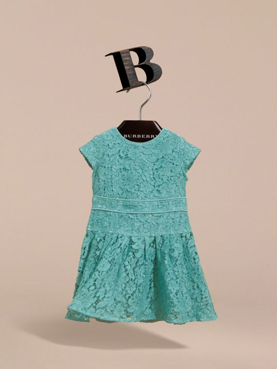 Cap Sleeve Macramé Lace Dress in Pale Turquoise - Girl | Burberry - cell image 2
