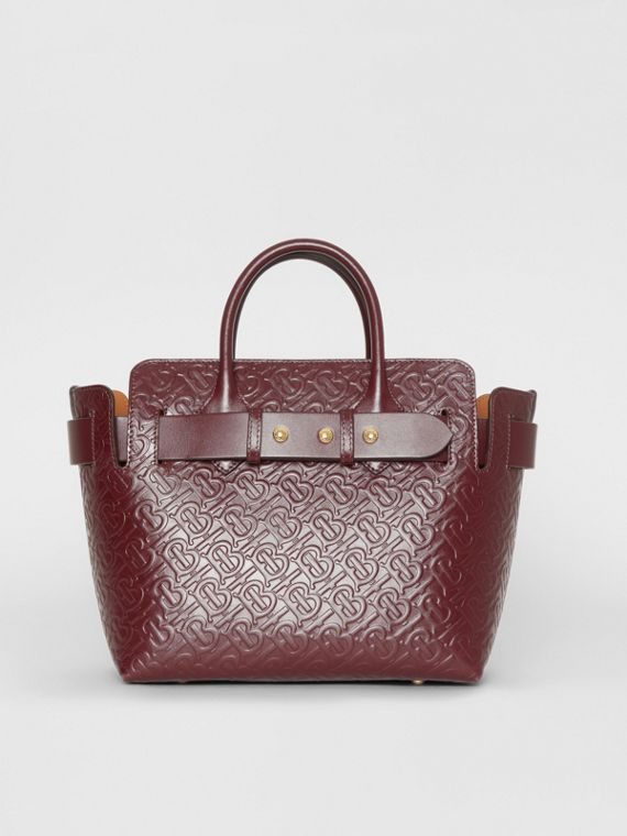 The Small Monogram Leather Triple Stud Belt Bag in Oxblood