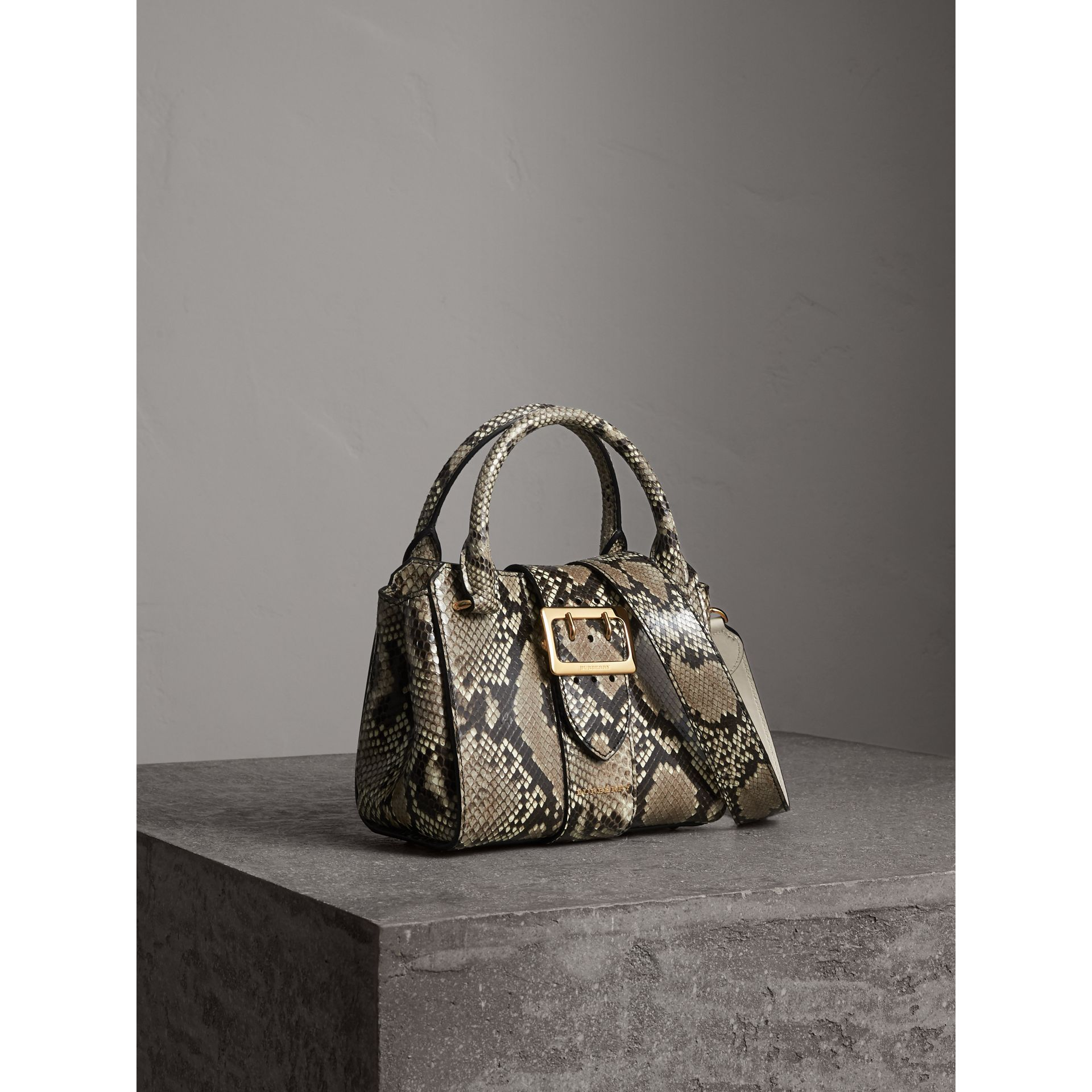 The Small Buckle Tote in Python in Natural - Women | Burberry United Kingdom - gallery image 8