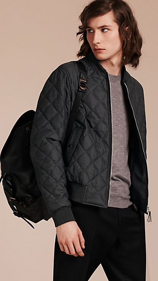 Lambskin Trim Quilted Wool Bomber Jacket