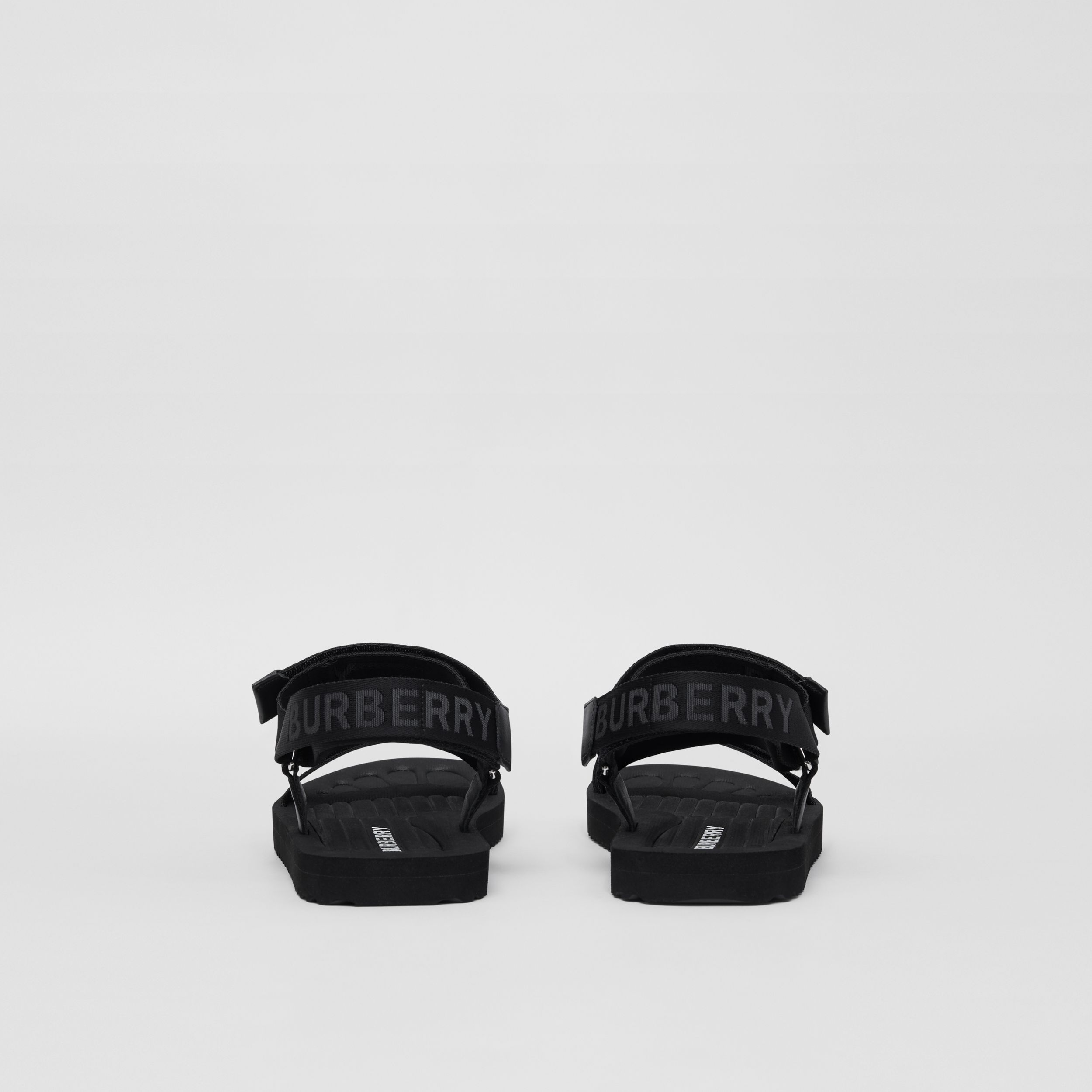 Logo Jacquard Sandals in Black - Men | Burberry - 4