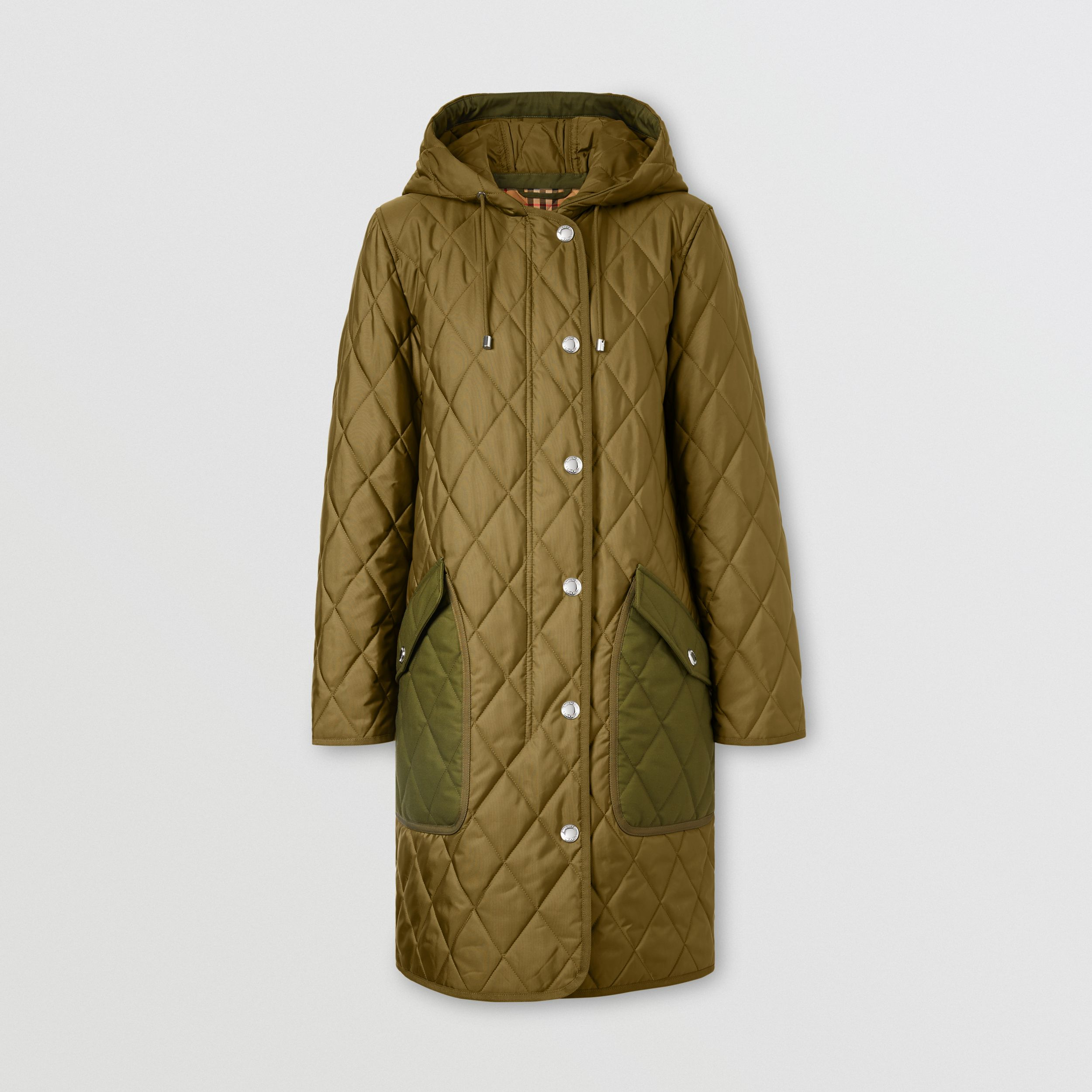 Diamond Quilted Thermoregulated Hooded Coat in Military Green - Women | Burberry - 4
