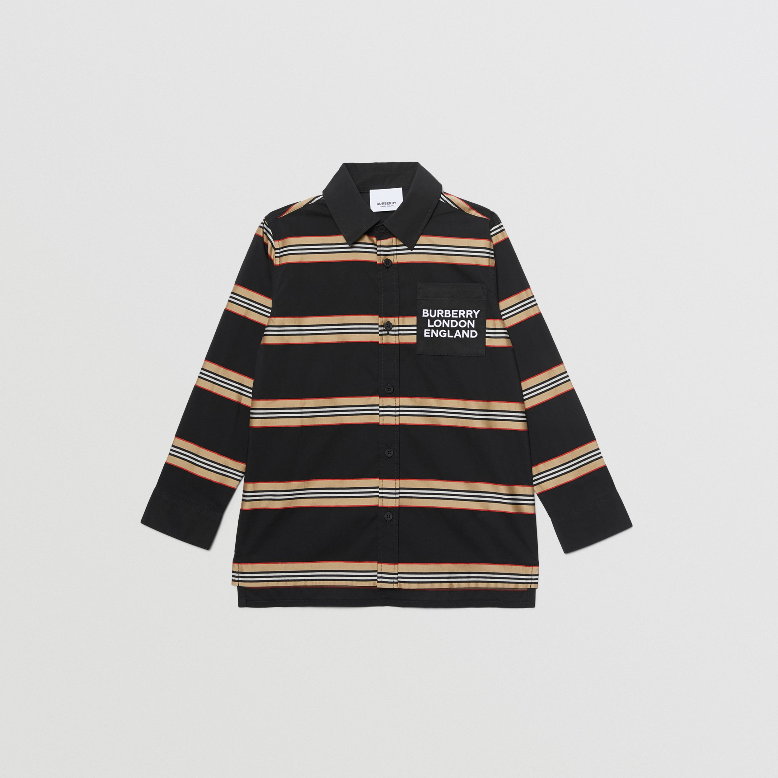 Embroidered Logo Icon Stripe Cotton Shirt in Black | Burberry - 1