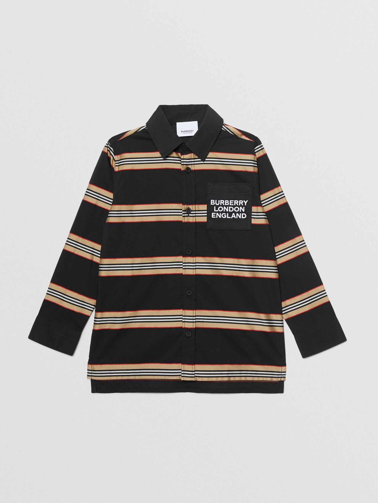 Embroidered Logo Icon Stripe Cotton Shirt in Black