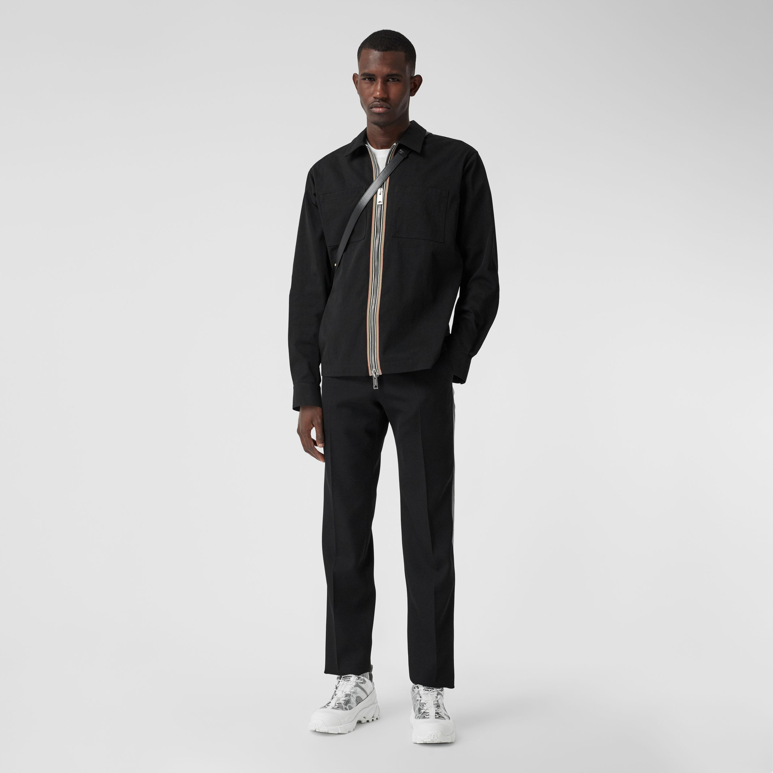 Stripe Detail Technical Twill Zip-front Shirt in Black - Men | Burberry Australia - 1