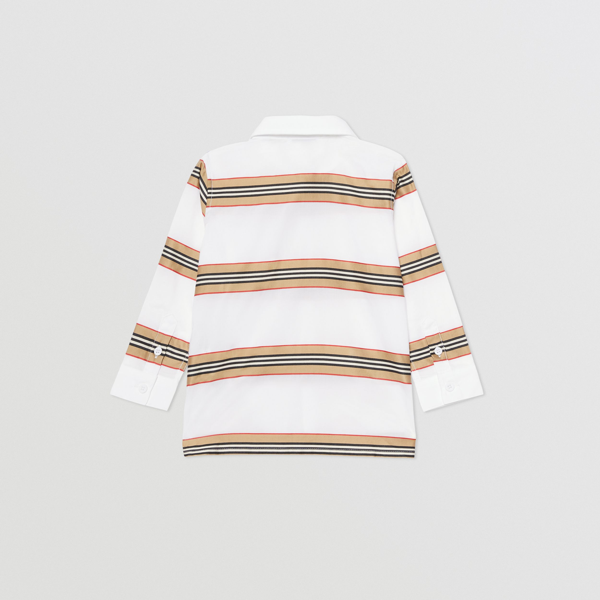 Embroidered Logo Icon Stripe Cotton Shirt in White - Children | Burberry - 4
