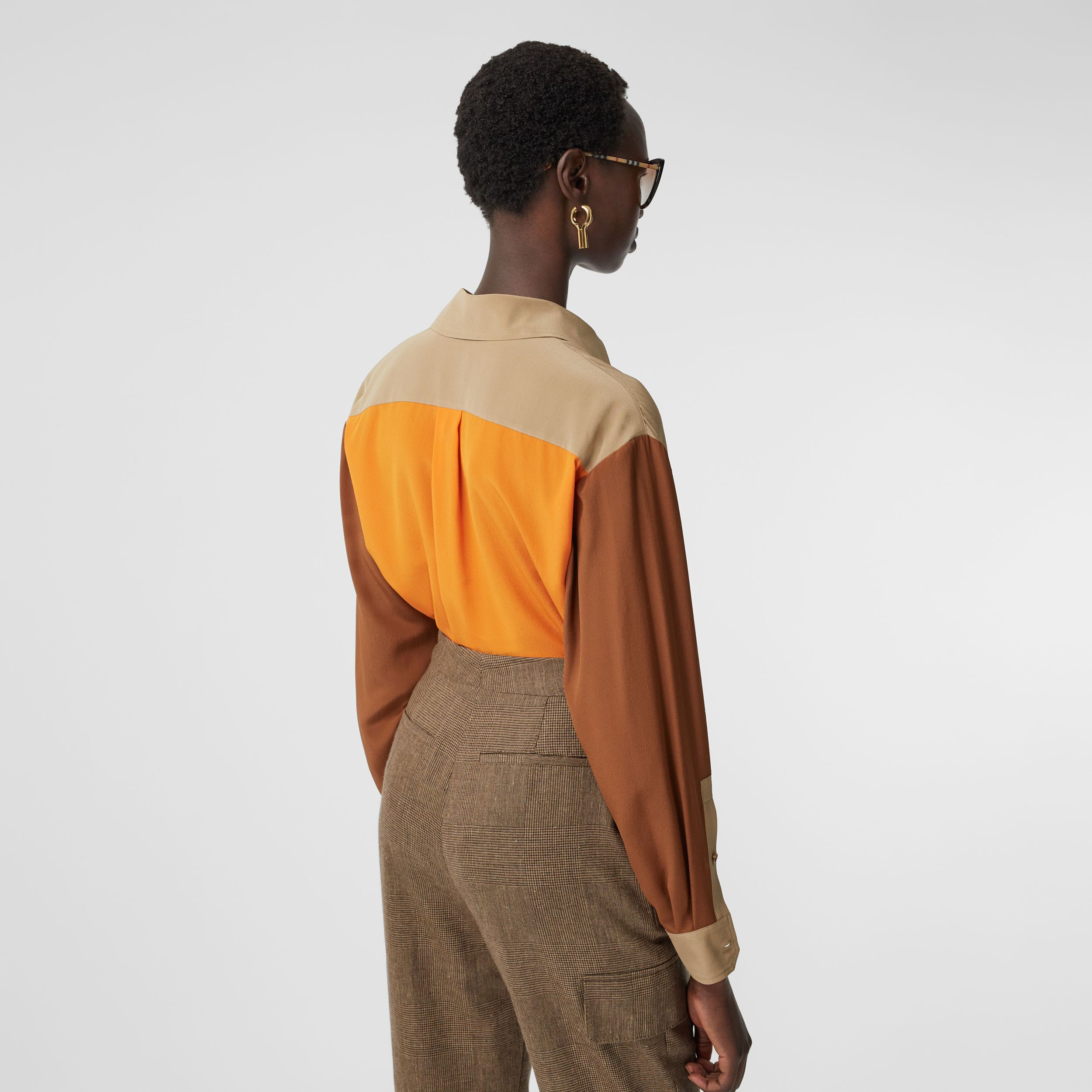 Colour Block Silk Crepe De Chine Shirt in Honey - Women | Burberry - 3