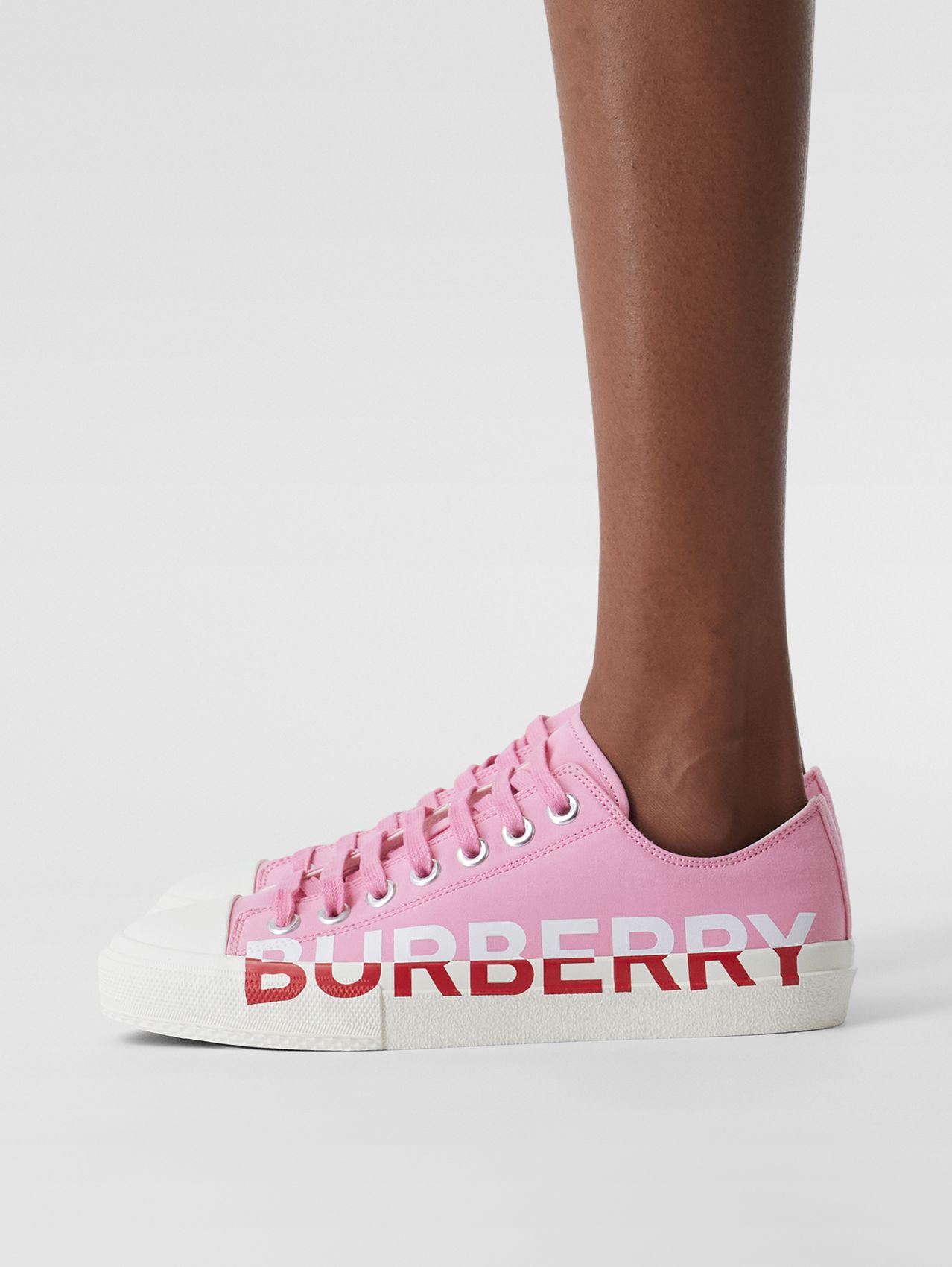 Logo Print Tri-Tone Cotton Gabardine Sneakers in Bubblegum Pink