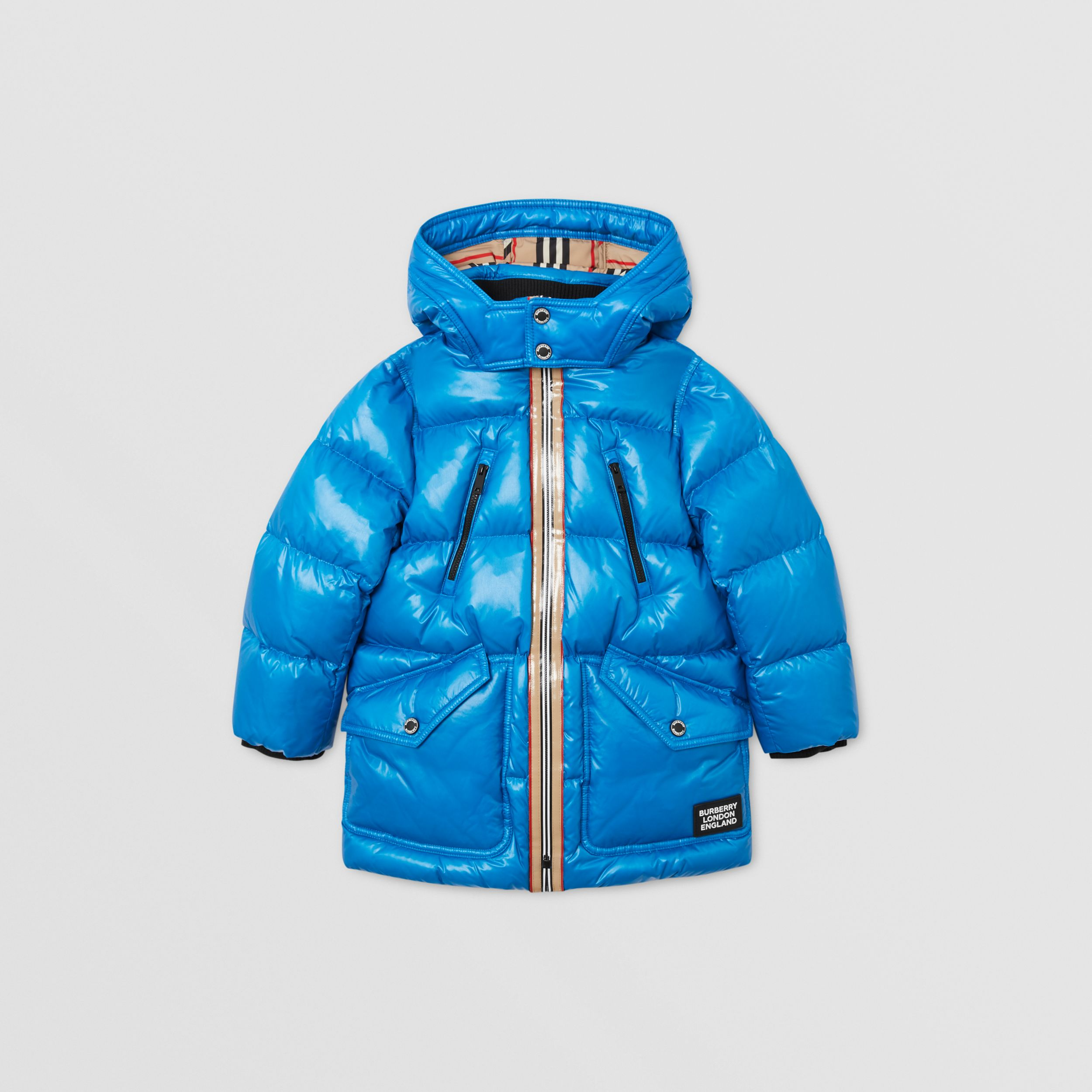 Icon Stripe Trim Hooded Puffer Coat in Cerulean Blue | Burberry Hong Kong S.A.R. - 1