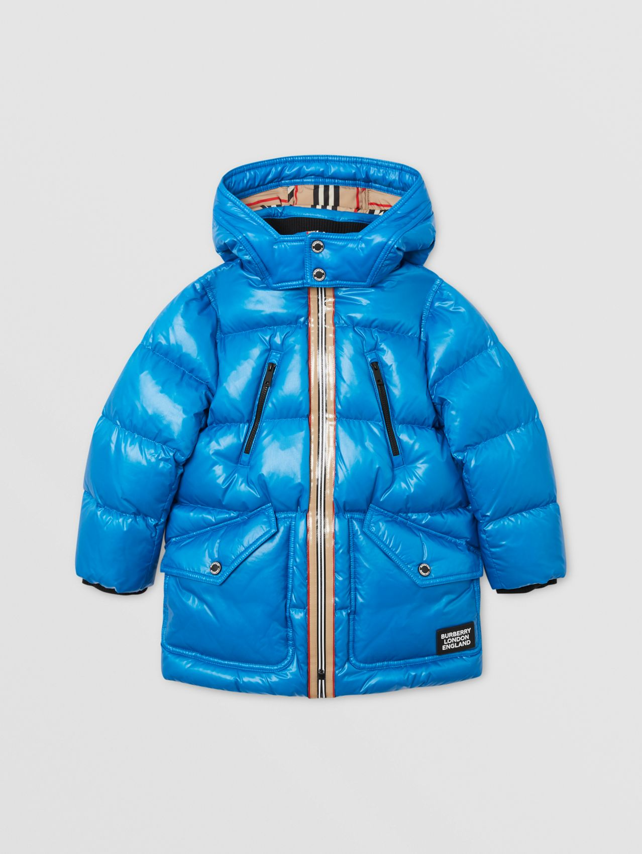 Icon Stripe Trim Hooded Puffer Coat in Cerulean Blue
