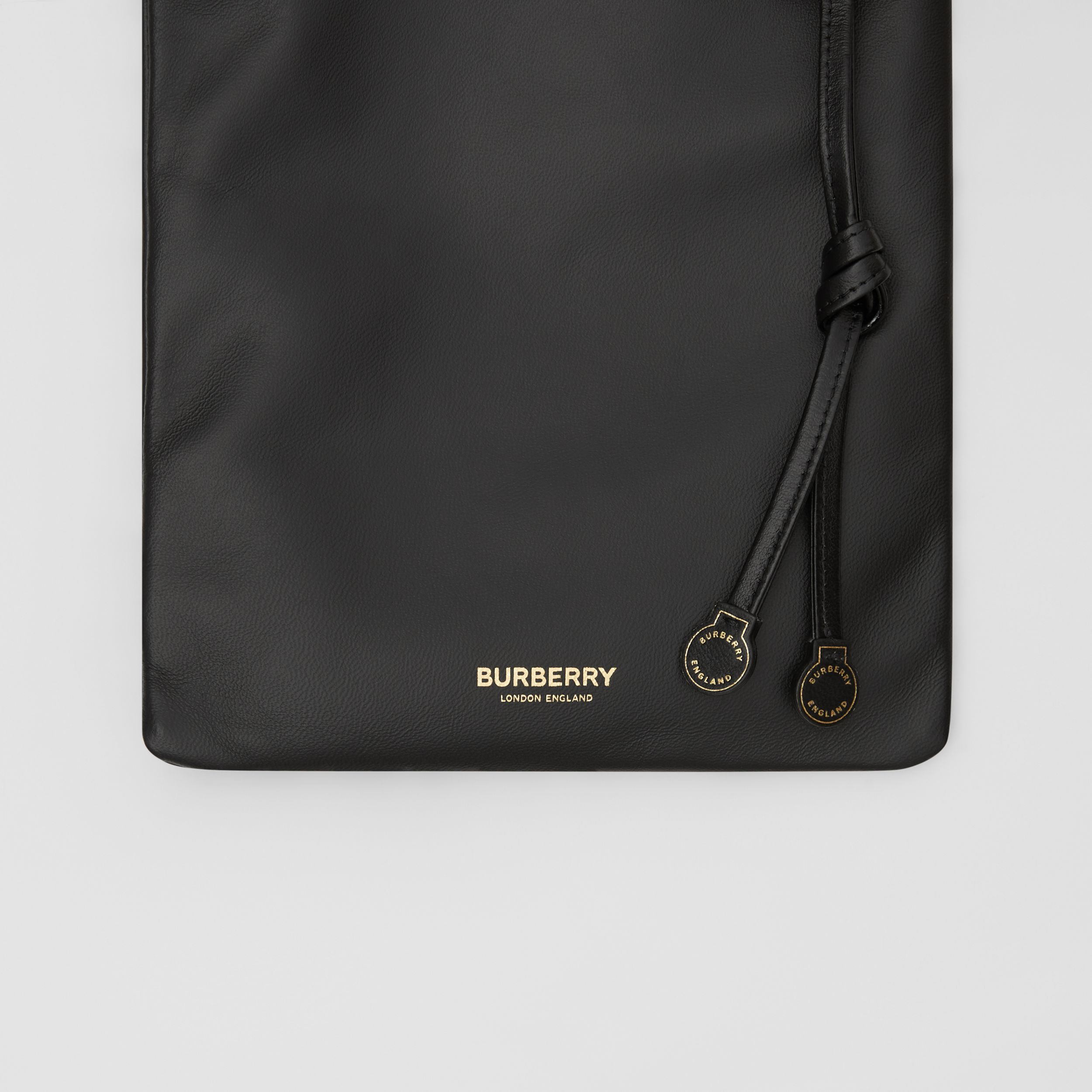 Small Lambskin Drawcord Pouch in Black | Burberry - 2
