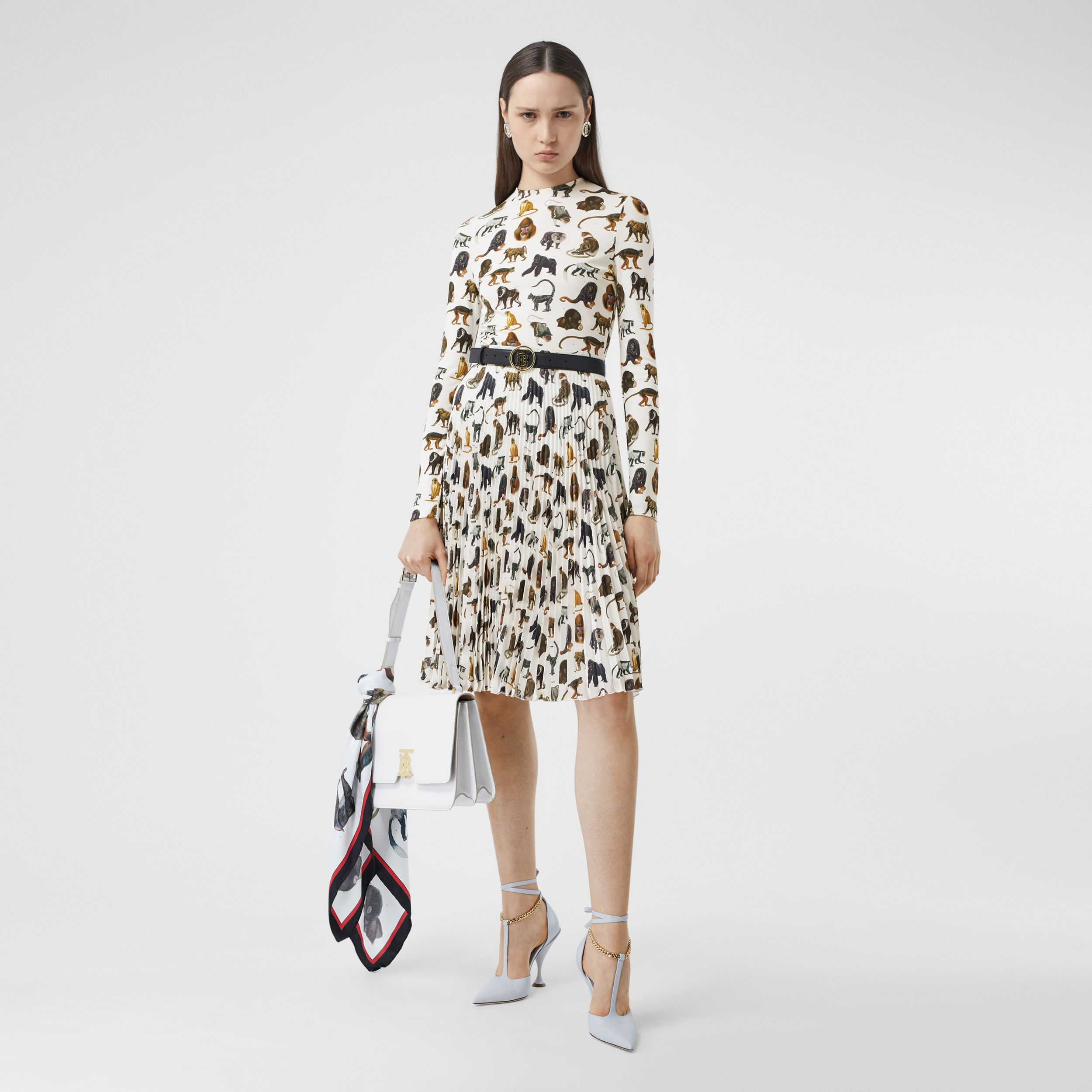 Monkey Print Crepe De Chine Pleated Skirt in White - Women | Burberry Hong Kong S.A.R. - 1