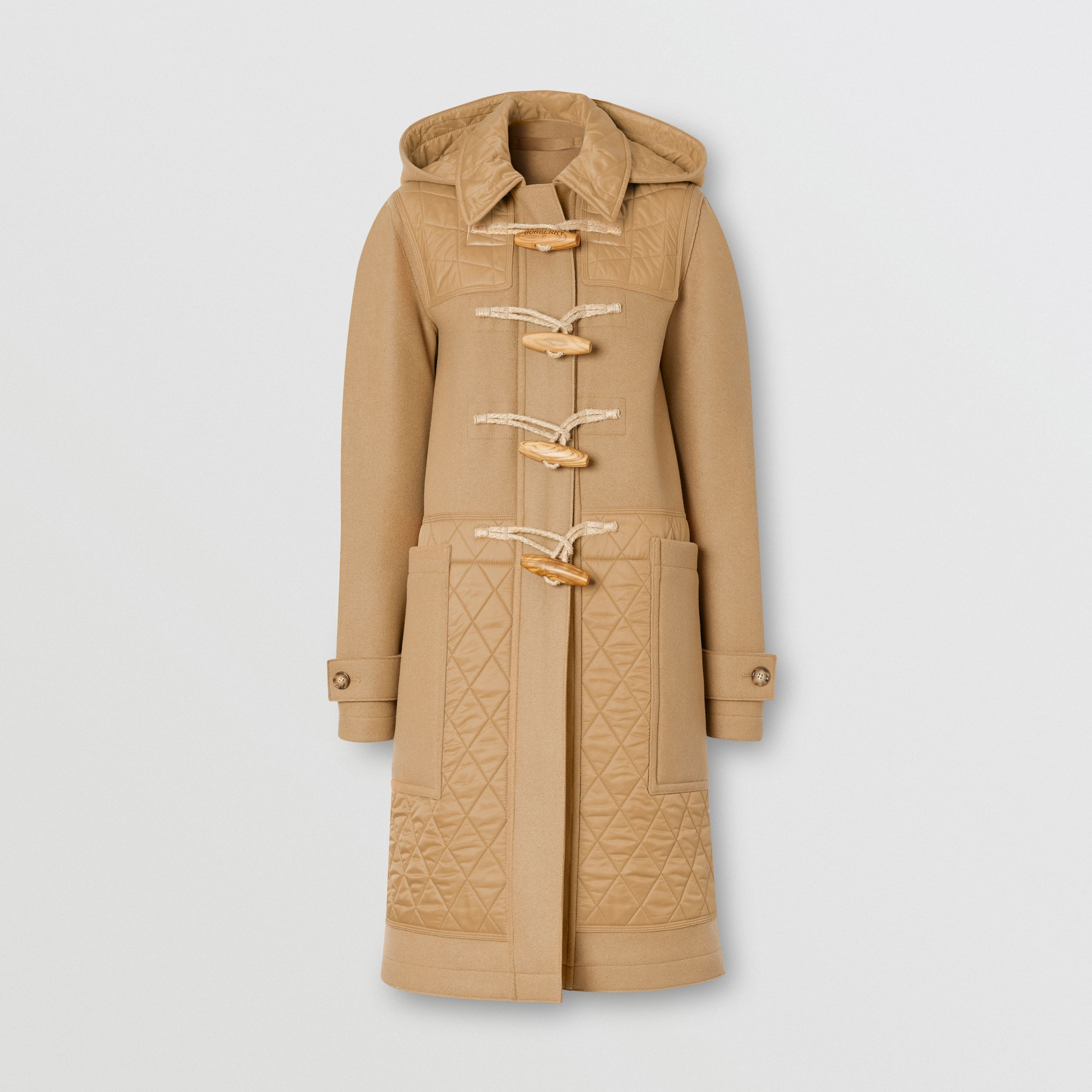 Diamond Quilted Panel Technical Wool Duffle Coat in Camel - Women | Burberry - 4