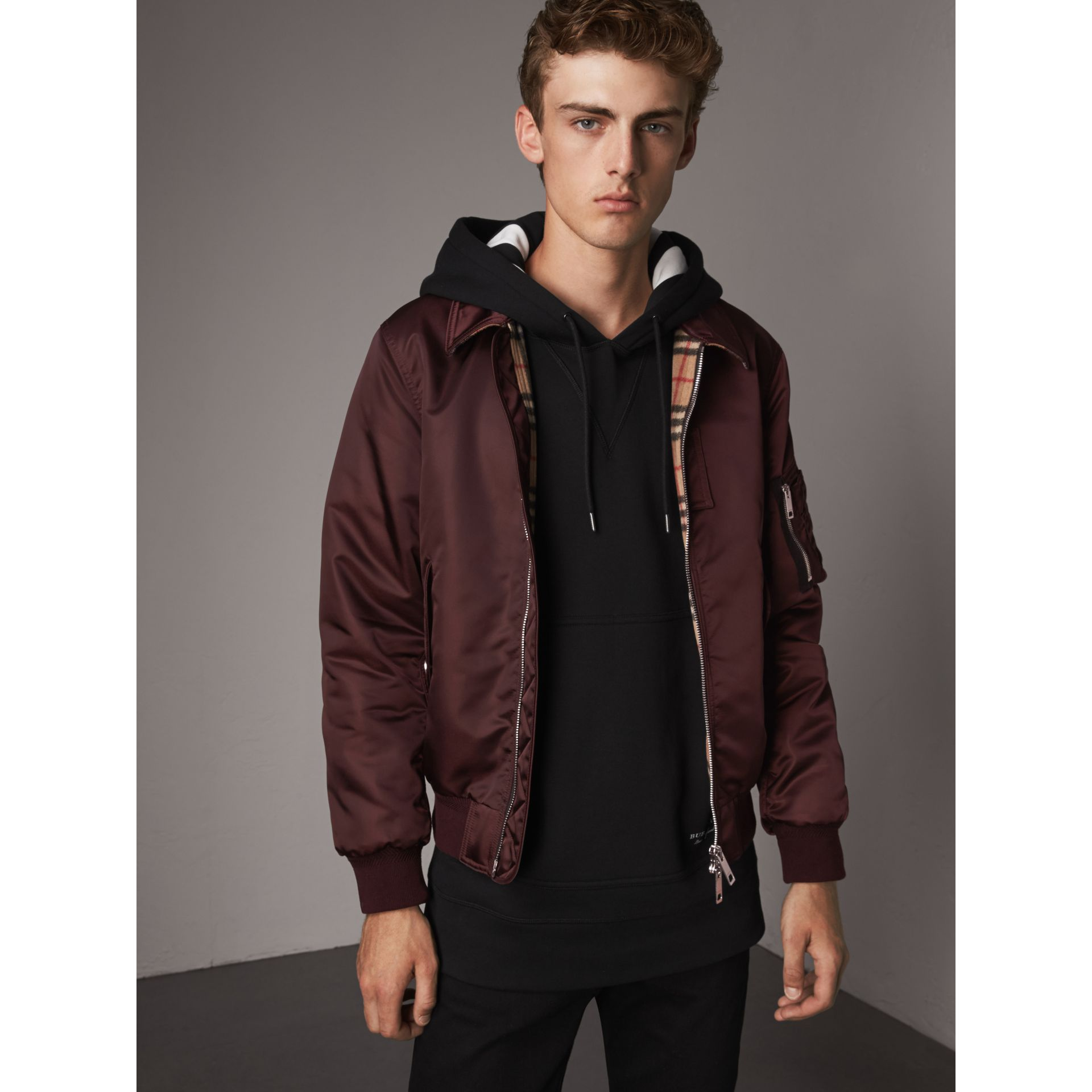 Point Collar Bomber Jacket in Claret - Men | Burberry - gallery image 0