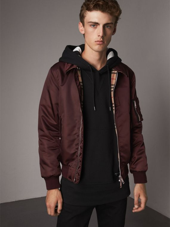 Point Collar Bomber Jacket in Claret