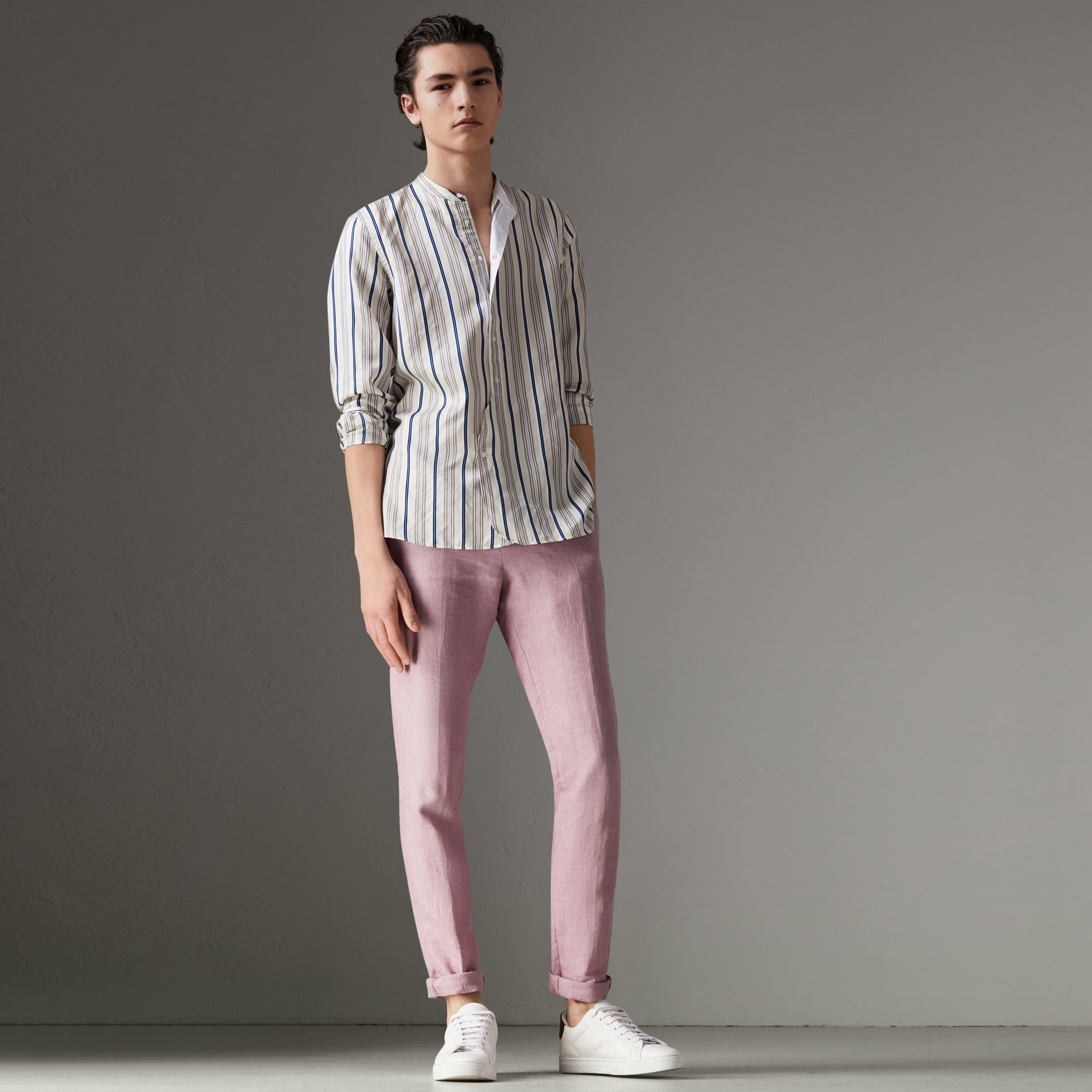 Grandad Collar Striped Silk Shirt in Off White - Men | Burberry United States - gallery image 5