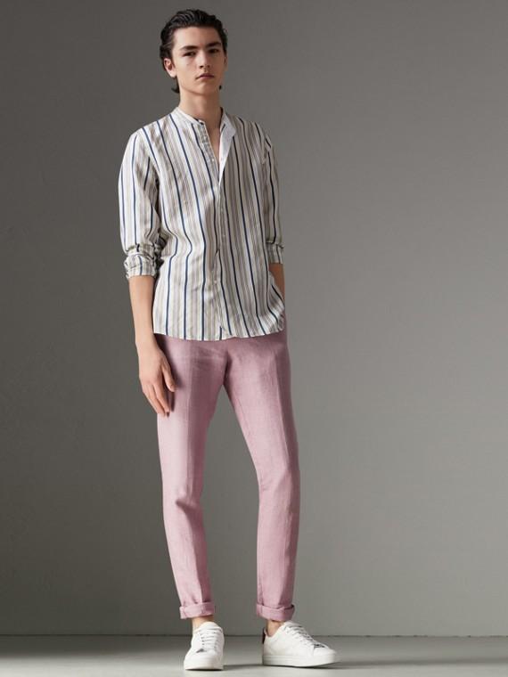 Grandad Collar Striped Silk Shirt in Off White