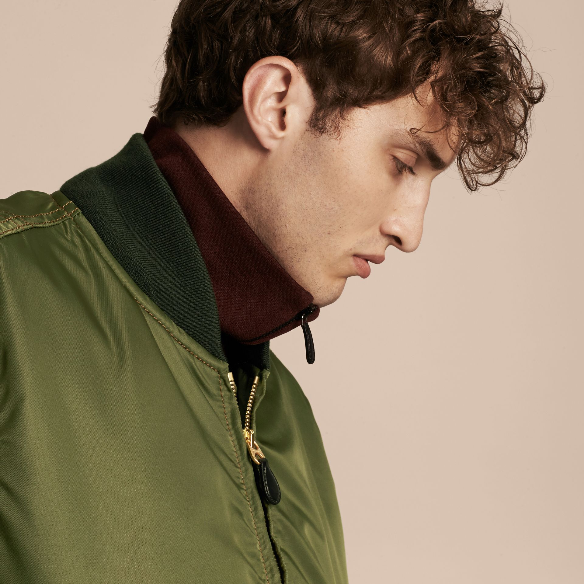 Light military green Oversize Bomber Jacket - gallery image 6