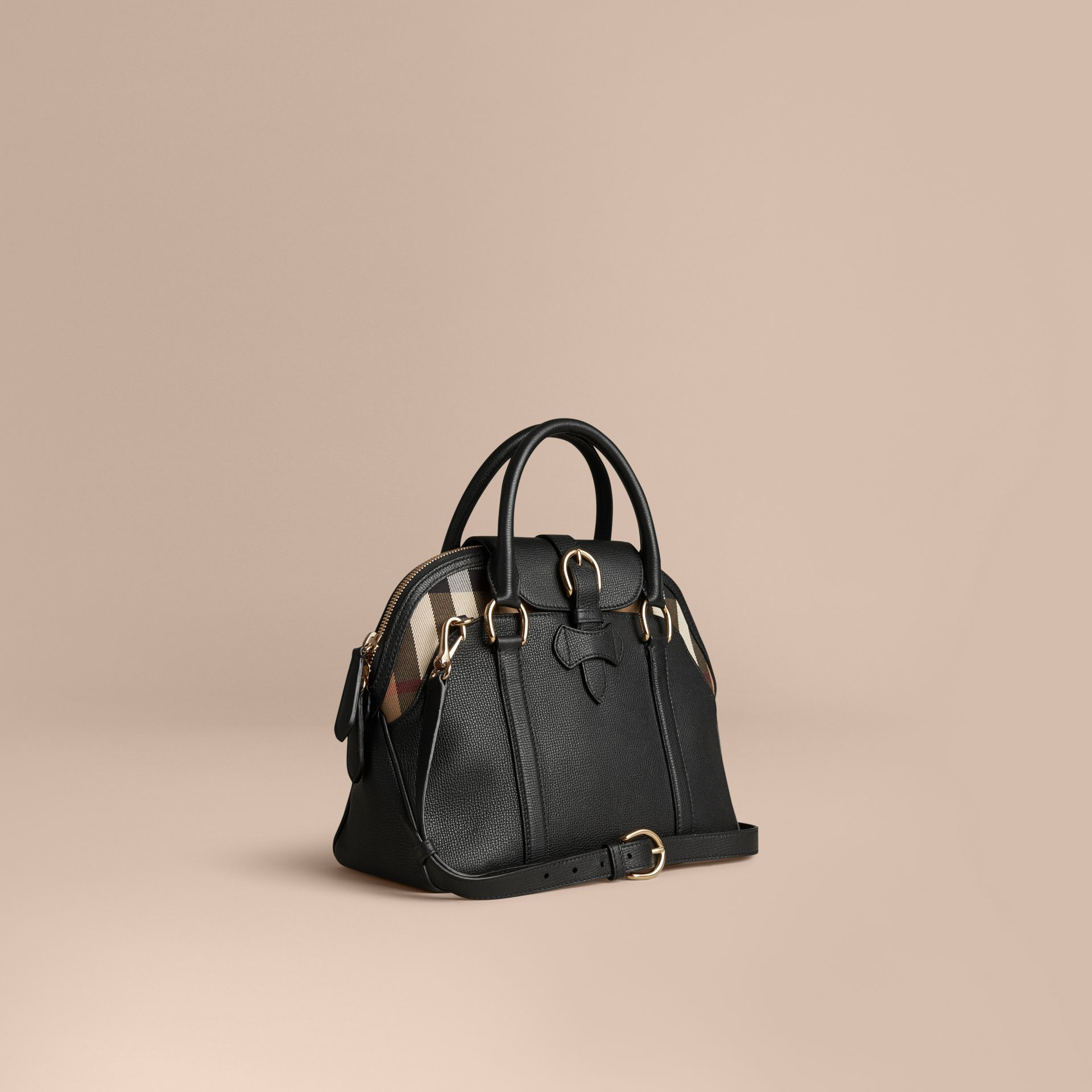 Noir Sac bowling medium en cuir et coton House check Noir - photo de la galerie 1